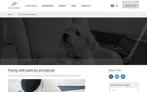 Screenshot of privatefly.com - Pet Travel by Private Jet | PrivateFly - captured June 25, 2017