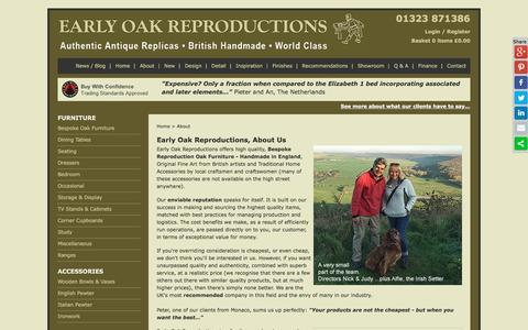Screenshot of About Page earlyoakreproductions.co.uk - About Early Oak Reproductions High Quality Oak Furniture - captured May 13, 2017
