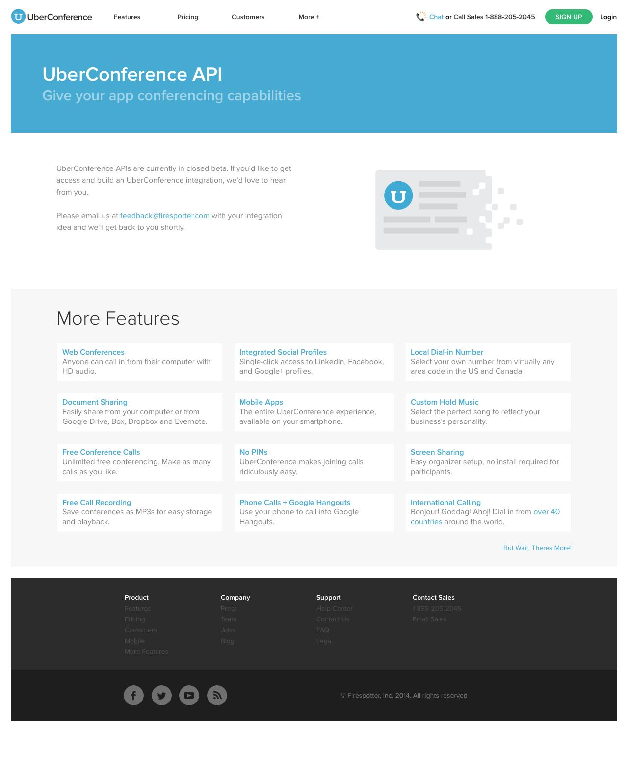 Web Design Example | A page on uberconference com | Crayon