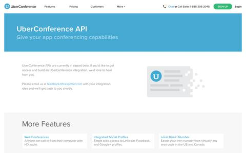 Screenshot of Developers Page uberconference.com - UberConference - The Best Free Conference Call - captured Oct. 29, 2014