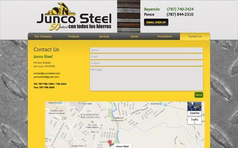 Screenshot of Contact Page juncosteel.com - junco-steel |  Contact Us - captured Oct. 16, 2017