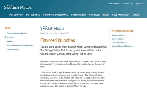 Screenshot of Press Page swedishmatch.com - Swedish Match - Flavored launches - captured Nov. 1, 2018