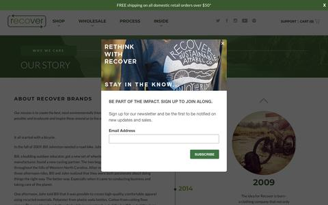 Screenshot of About Page recoverbrands.com - Our Story | Recycled Apparel & Gear | Recover Brands - captured Oct. 20, 2018