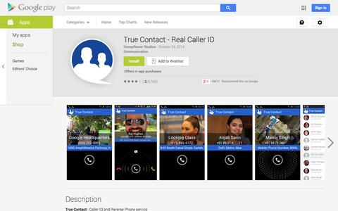 Screenshot of Android App Page google.com - True Contact - Real Caller ID - Android Apps on Google Play - captured Oct. 25, 2014