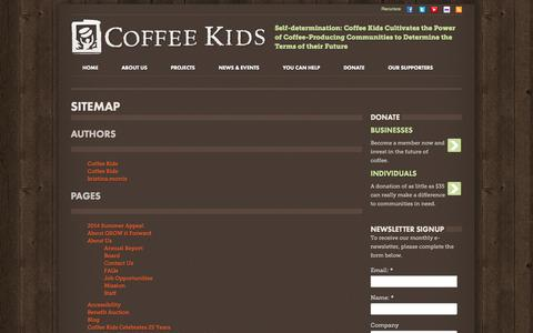 Screenshot of Site Map Page coffeekids.org - Sitemap - Coffee Kids - captured Sept. 30, 2014