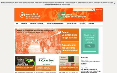 Screenshot of Home Page sci-cat.org - Servei Civil Internacional de Catalunya - captured June 13, 2016