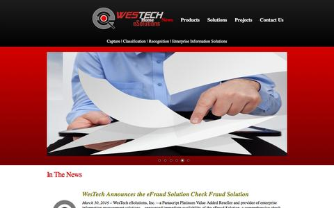 Screenshot of Press Page westech-esolutions.com - WesTech eSolutions Inc. - captured Dec. 15, 2016