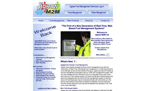 Screenshot of Home Page jigsawm2m.com - Fuel Management and Monitoring Systems, Solutions and Services, UK and across the world - captured Oct. 6, 2014
