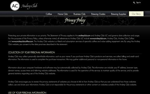Screenshot of Privacy Page andreyclub.com - Privacy Policy - Andrey Club - captured July 25, 2016