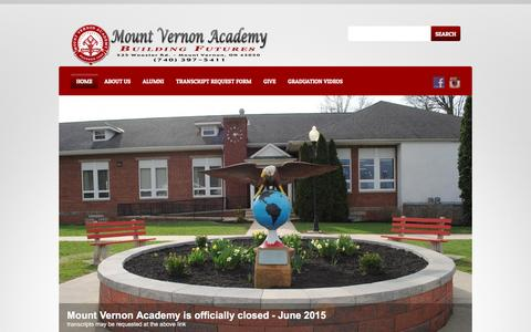 Screenshot of Home Page mvacademy.org - Mount Vernon Academy |  ~ A Seventh-day Adventist Boarding School ~ (740)397-5411 ~ 525 Wooster Rd. Mount Vernon, OH 43050 - captured Feb. 24, 2016