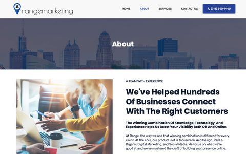 Screenshot of About Page rangemarketing.com - Web Design Services Buffalo, Internet Marketing Company Buffalo, NY | SEM Buffalo | SEO & Internet Marketing - captured Nov. 7, 2018