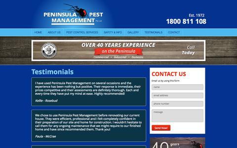 Screenshot of Testimonials Page penpest.com.au - Testimonials Archive - Peninsula Pest Management - captured Oct. 2, 2014