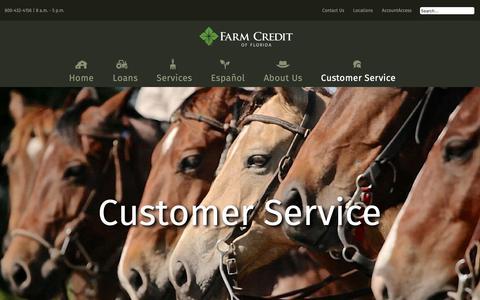 Screenshot of Support Page farmcreditfl.com - Farm Credit of Florida - Customer Service - captured Oct. 10, 2018