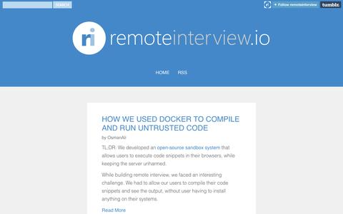 Screenshot of Blog remoteinterview.io - remoteinterview.io - Official Blog - captured Oct. 7, 2014