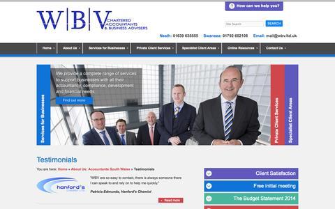 Screenshot of Testimonials Page wbv.ltd.uk - Testimonials | Chartered Accountants and Business Advisers in Swansea and Neath - WBV - captured Nov. 3, 2014