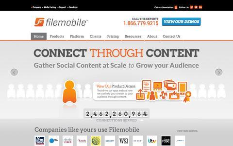 Screenshot of Home Page filemobile.com - User-Generated Content Solutions: Filemobile - captured Sept. 25, 2014