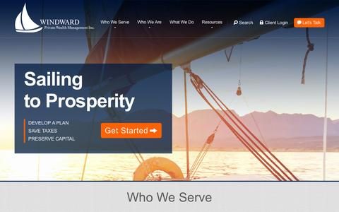 Screenshot of Home Page windwardfp.com - Windward Private Wealth Management - captured Feb. 24, 2016