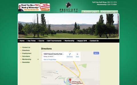 Screenshot of Maps & Directions Page prescottgolf.net - Prescott Golf & Country Club - captured Oct. 2, 2014