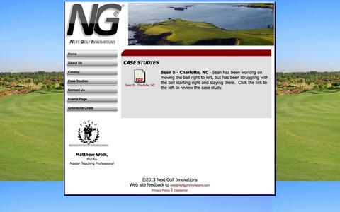 Screenshot of Case Studies Page nextgolfinnovations.com - golf instruction, Next Golf Innovations Case Studies - captured Oct. 26, 2014
