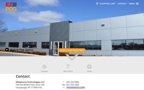 Screenshot of Contact Page ezpog.com - Contact Webphoria Technologies LLC. a space management software company. - captured Oct. 31, 2017