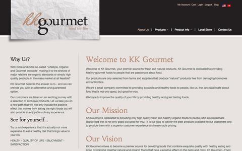 Screenshot of About Page kkgourmet.com - Welcome to KK Gourmet | KK Gourmet - captured Sept. 30, 2014