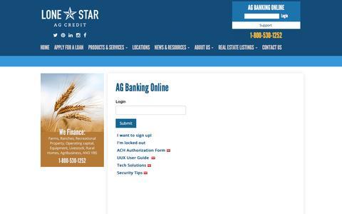 Screenshot of Support Page lonestaragcredit.com - Lone Star Ag Credit - captured Dec. 13, 2015