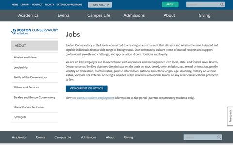 Screenshot of Jobs Page berklee.edu - Jobs | Boston Conservatory at Berklee - captured Dec. 1, 2016