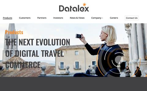 Screenshot of Products Page datalex.com - Omni Channel Commerce | Airline Commerce | Travel Retail - captured June 4, 2017