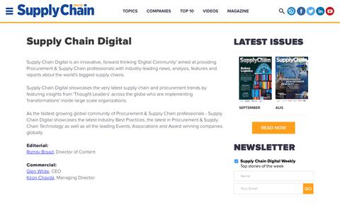 Screenshot of About Page supplychaindigital.com - About Us | Supply Chain Digital - Supply Chain News, Magazine and Website - captured Sept. 23, 2018