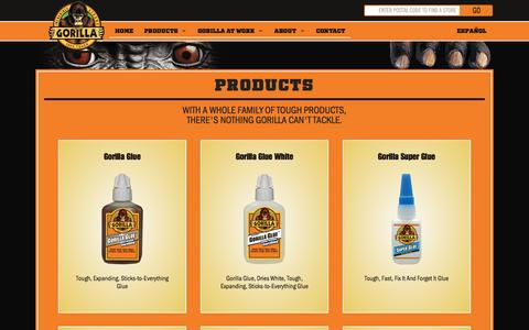 Screenshot of Products Page gorillatough.com - Products | Gorilla Glue - captured Jan. 23, 2016