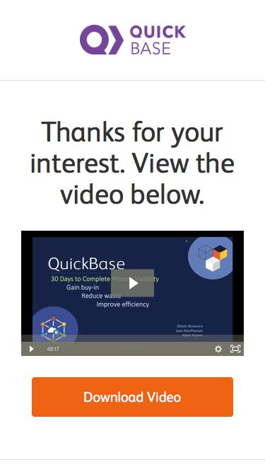 Thank You - Get Complete Business Process Visibility in 30 Days Webinar   QuickBase