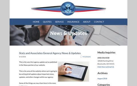 Screenshot of Press Page statzandassociates.com - Statz and Associates General Agency - Agency News & Updates - captured Nov. 7, 2018