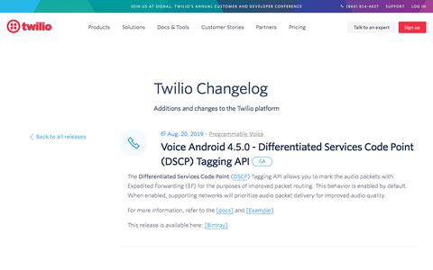 Screenshot of Services Page twilio.com - Voice Android 4.5.0 - Differentiated Services Code Point (DSCP) Tagging API - captured Nov. 28, 2019