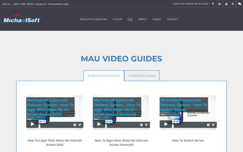 Screenshot of FAQ Page michaelsoft.com.my - FAQ & Video Guides - MichaelSoft | MAU & DDS Diskless Solutions - captured Oct. 5, 2018