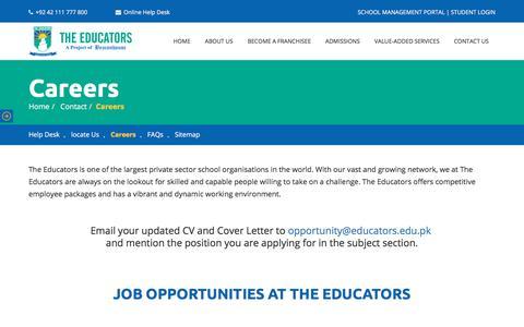 Screenshot of Jobs Page educators.edu.pk - Careers - The Educators - captured Dec. 22, 2019