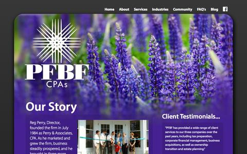 Screenshot of Testimonials Page pfbf.com - History & Testimonials of Maine Accounting Firm | PFBF CPAs - captured Oct. 1, 2014