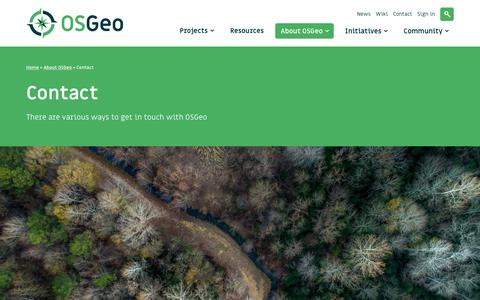 Screenshot of Contact Page osgeo.org - Contact - OSGeo - captured Oct. 18, 2018