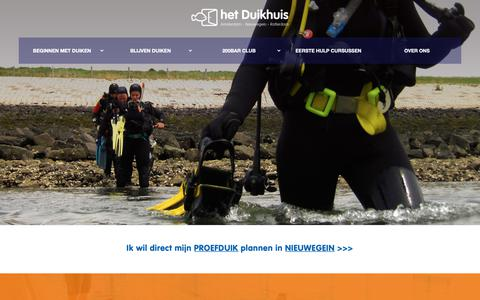 Screenshot of Home Page hetduikhuis.nl - Het Duikhuis – Leer professioneel duiken - captured Nov. 5, 2018