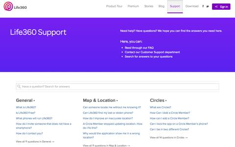 Screenshot of Support Page life360.com - Support | Life360 - The New Family Circle - captured June 16, 2015