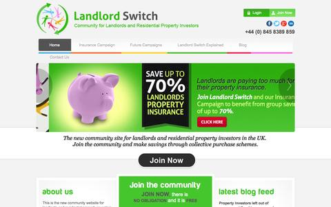 Screenshot of Home Page landlordswitch.co.uk - Landlord Switch | Community for Landlords and Property Investors | UK - captured Sept. 30, 2014