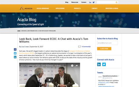 Look Back, Look Forward ECOC: A Chat with Acacia's Tom Williams - Acacia Communications
