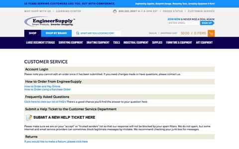 Screenshot of Support Page engineersupply.com - Customer Service Center - EngineerSupply - captured Dec. 9, 2015