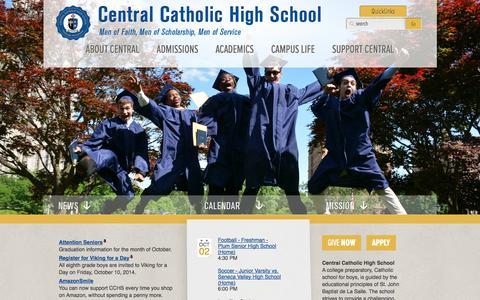 Screenshot of Home Page centralcatholichs.com - Central Catholic High School - captured Oct. 2, 2014