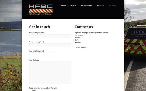 Screenshot of Contact Page hfbc-uk.com - Contact - HFBC - captured Nov. 9, 2016