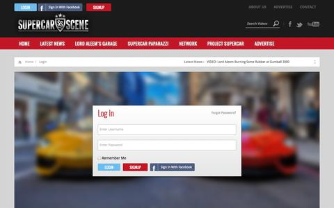 Screenshot of Login Page supercarscene.com - » Login - captured Oct. 7, 2014