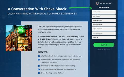 Screenshot of Landing Page applause.com - Webinar: Launching Innovative Digital Customer Experiences with Shake Shack - captured Feb. 2, 2017