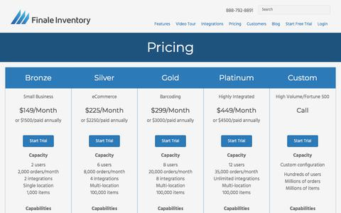 Screenshot of Pricing Page finaleinventory.com - Pricing - Finale Inventory - captured March 27, 2018