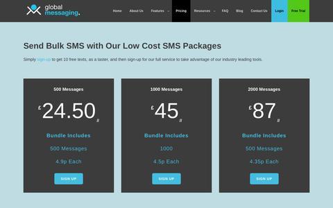 Screenshot of Pricing Page globalmessaging.co.uk - Bulk SMS Pricing & SMS Package Costs - GlobalMessaging - captured Jan. 30, 2016