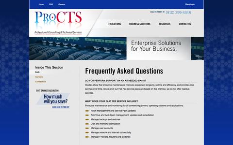 Screenshot of FAQ Page procts.us - ProCTS FAQ - captured Sept. 30, 2014