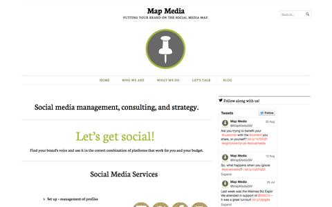 Screenshot of Home Page mapmediagroup.com - Map Media | Putting your brand on the social media map. - captured Oct. 6, 2014